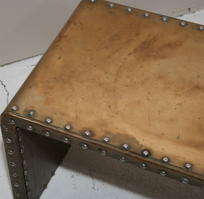 Silver Studded Coffee Table: Studded Brass Waterfall Cocktail Table By Sarreid Ltd. At