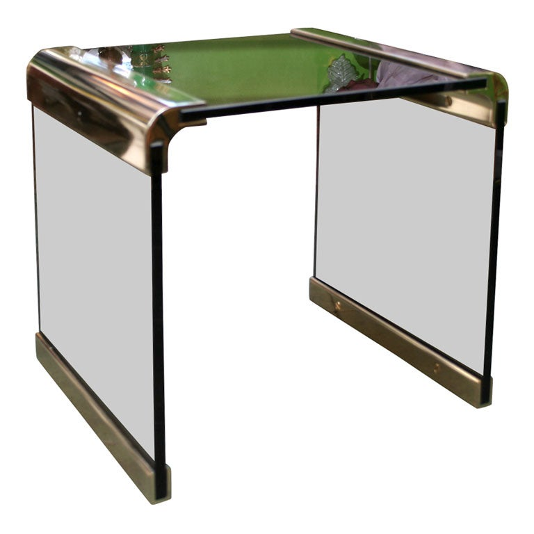 Smoked Glass And Brass Pace Waterfall Side Table At 1stdibs