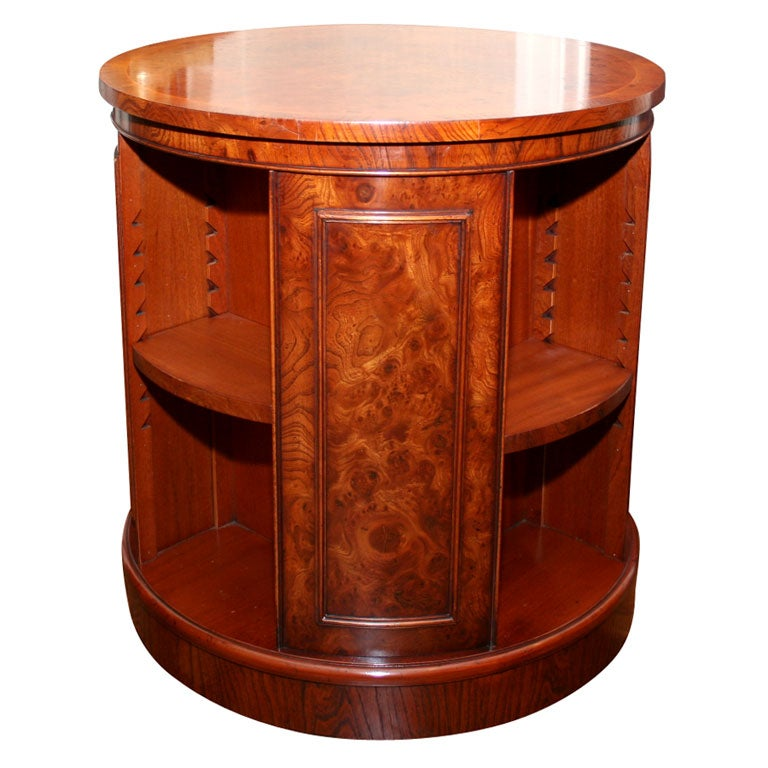 Burl Yew And Mahogany Veneer Revolving Bookcase Table At