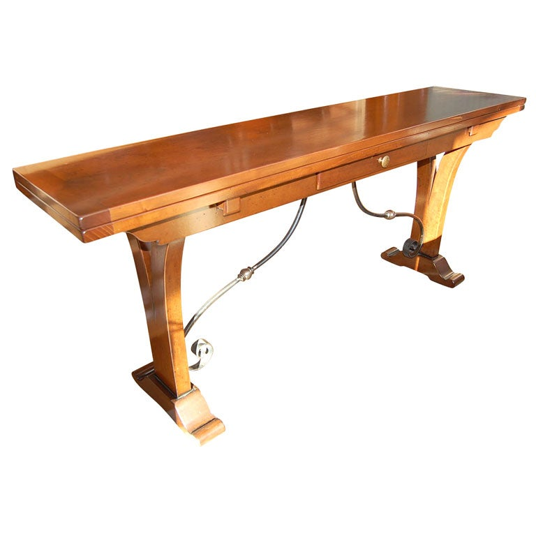 Athos folding console table with iron base at 1stdibs for Table console retractable