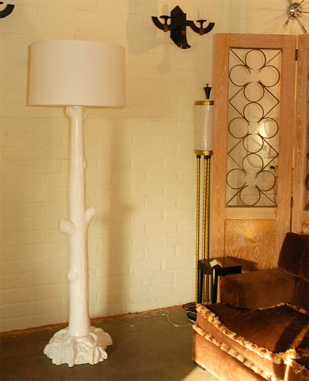 Tall quottreequot floor lamp pair in white painted finish for for Tall tree floor lamp