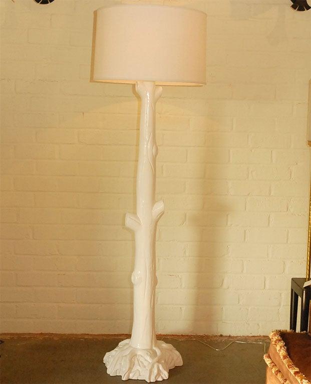 tall quottreequot floor lamp pair in white painted finish for With white painted floor lamp