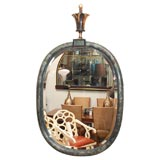PARCHMENT MIRROR WITH  HORN CRESTING