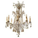 Baltic Neoclassical 8-Light Chandelier in Cut-Crystal, c. 1880