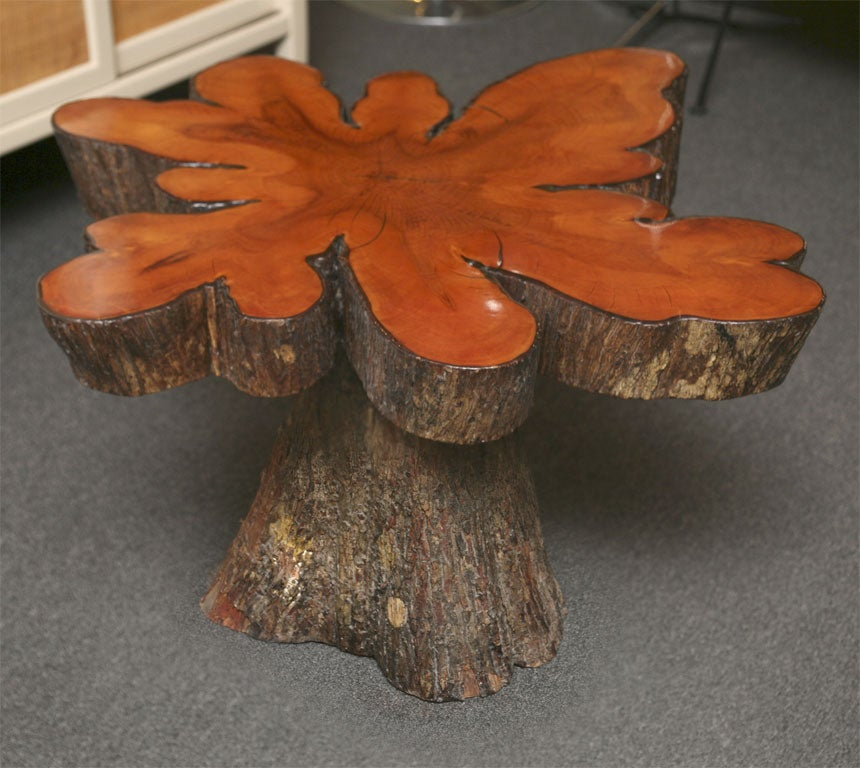 Rustic Cypress Tree Slab Table At 1stdibs