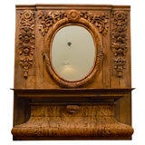 French Carved Wood Trumeau Mirror from Normandy with Oval Mirror and Shelf