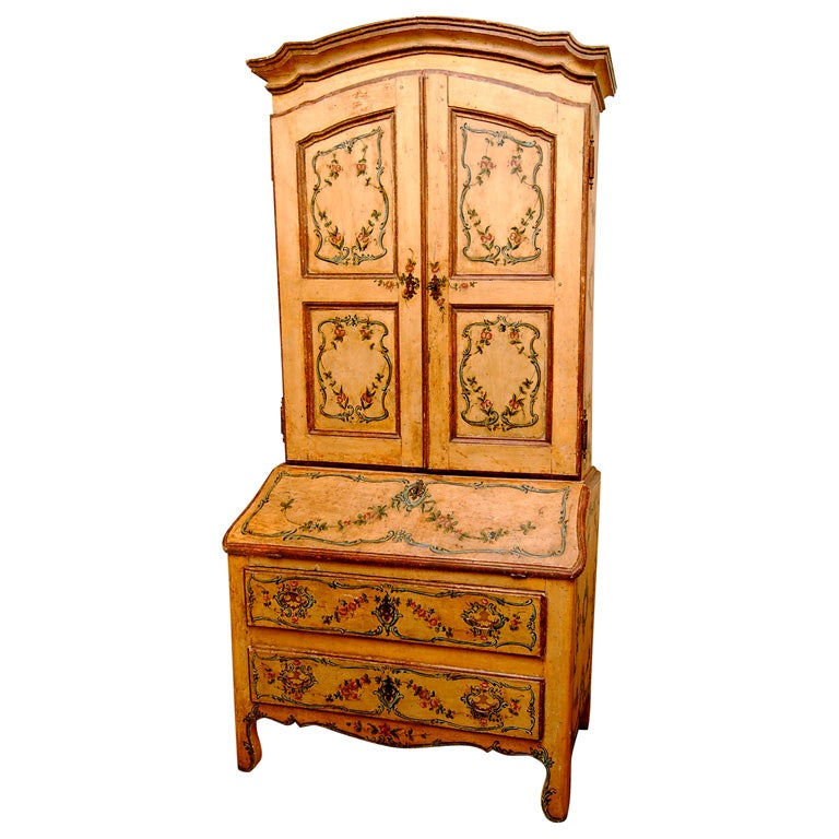18th century italian painted secretaire from genova for for Italian painted furniture