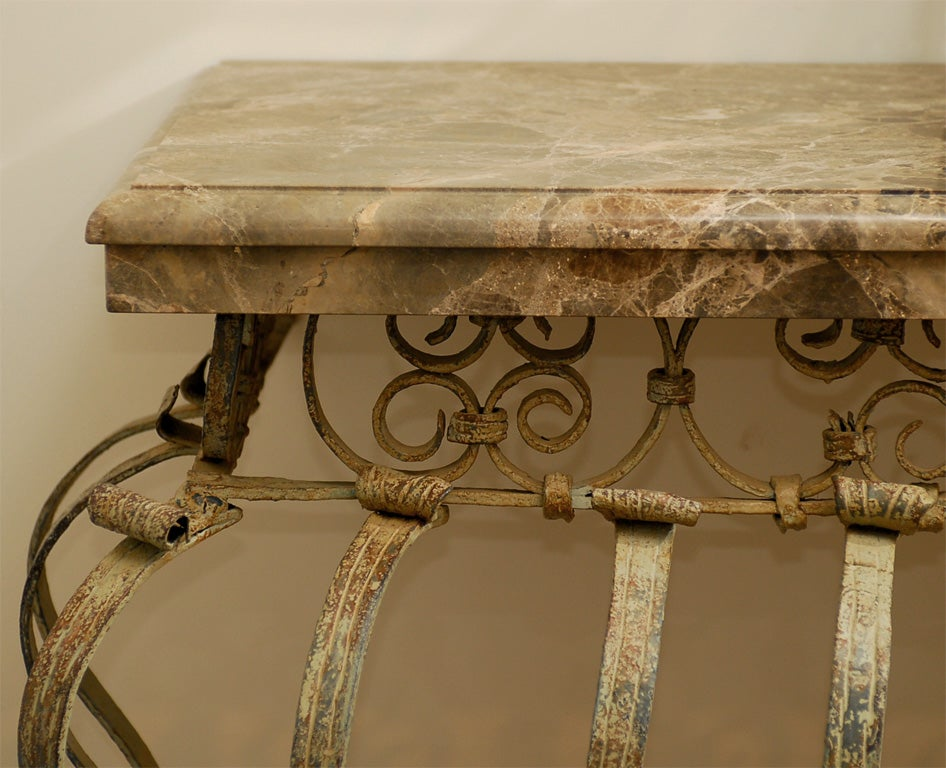 Marble top console table made from an 18th century balcony for Balcony console