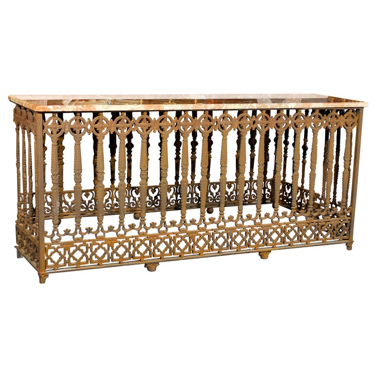Console made from iron balcony at 1stdibs for Balcony console