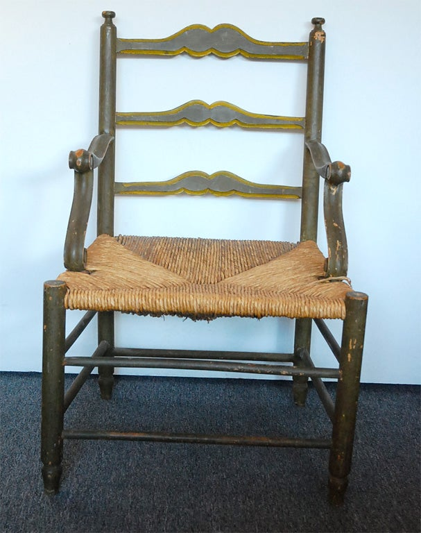 Early 19thc New England Ladderback Chair W Rush Seat At