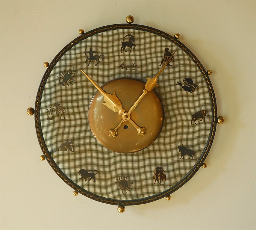 Mauthe Iron Zodiac Wall Clock With Br Features