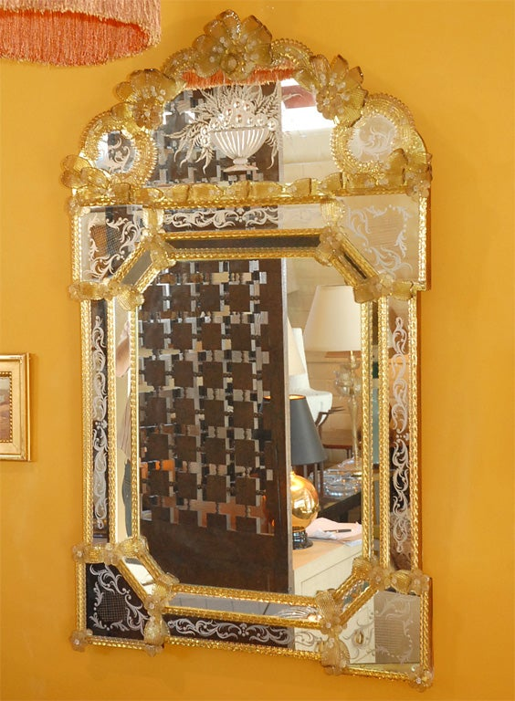Beautiful large Venetian etched mirror with gold glass detail. Excellent vintage for it's age with one flower missing, see image/view 8 (right side, not that noticeable).
