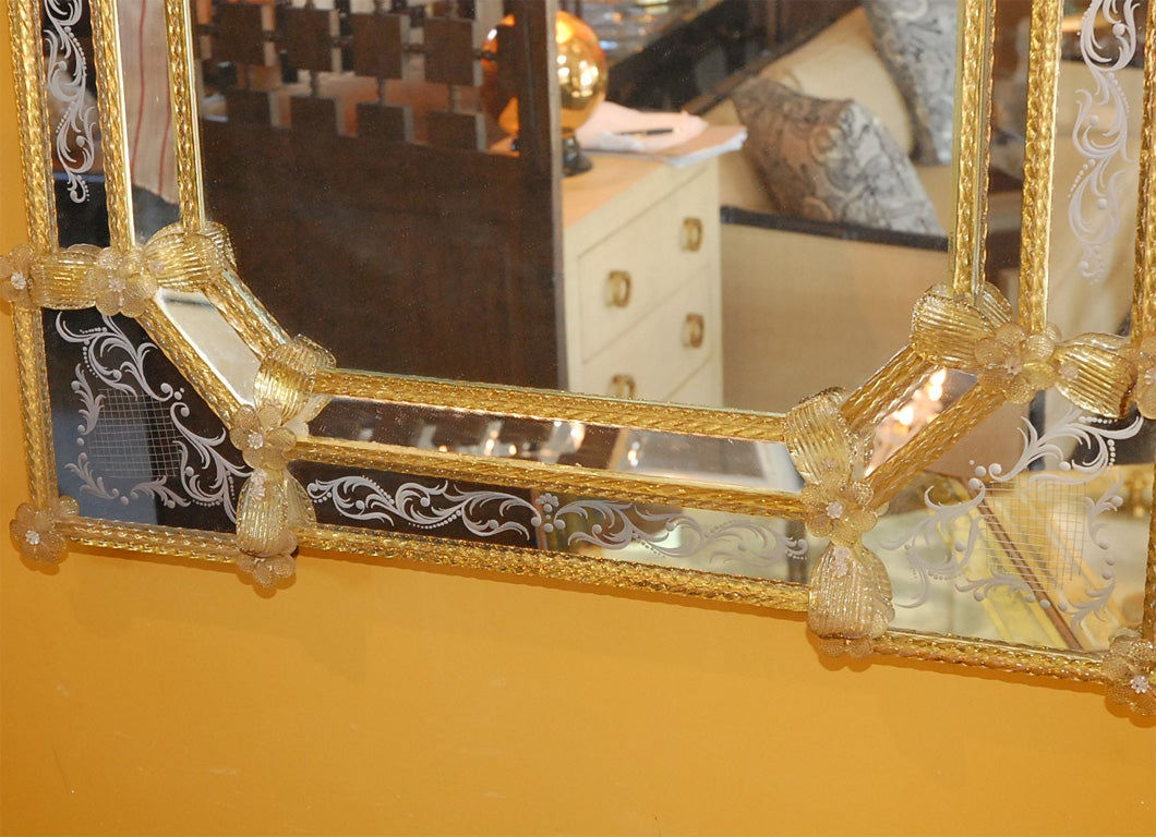 Italian Large Venetian Mirror For Sale