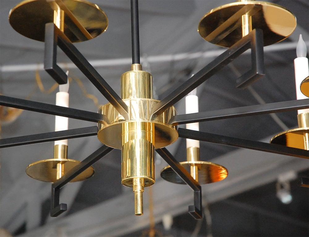 Paul Marra Design Greek Key Chandelier In Brass For Sale