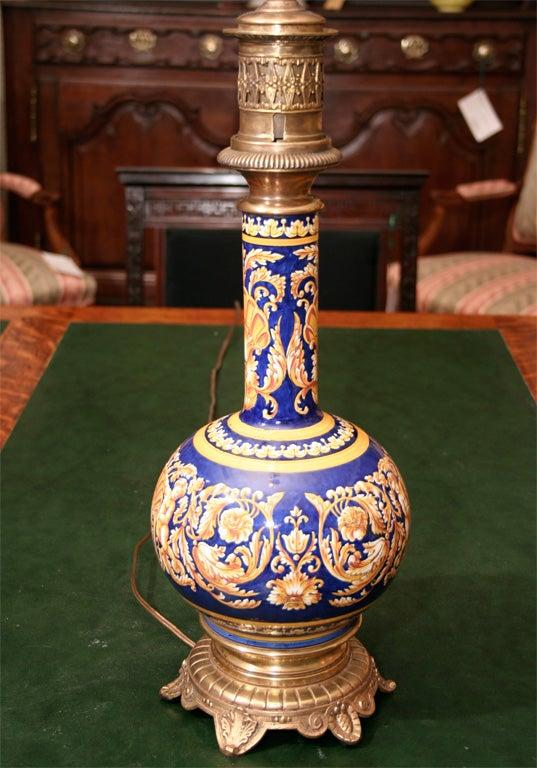 Majolica Style French Oil Lamp Circa 1860 At 1stdibs