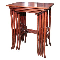 Josef Hoffmann Set of Four Bentwood Rosewood Stacking Tables