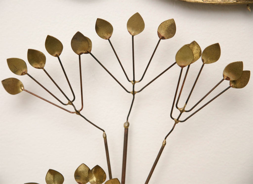 70 39 s copper and brass wall sculpture at 1stdibs for Copper wall art
