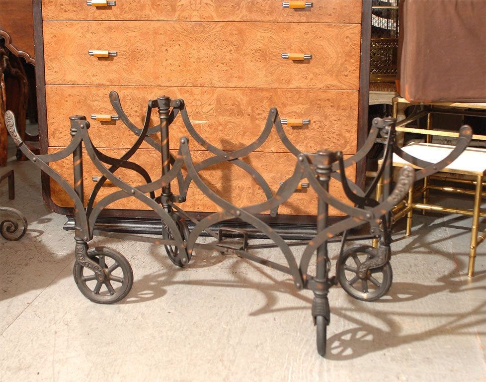 Collapsible church trolley / casket stand on wheels.  With the wheels removed, this item has the perfect height and dimensions for a coffee table base. The dimensions below are with the wheels on.  Without the wheels, it is 14