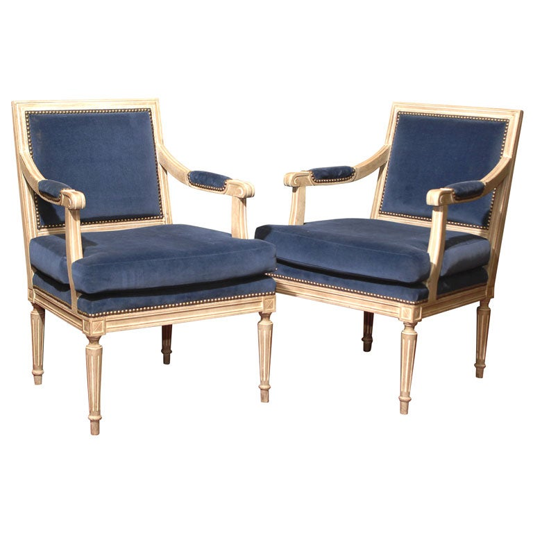 pair of louis xvi style fauteuils at 1stdibs. Black Bedroom Furniture Sets. Home Design Ideas