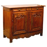 French Provincial Mid-19th Century Pine Buffet with Foliage Carving