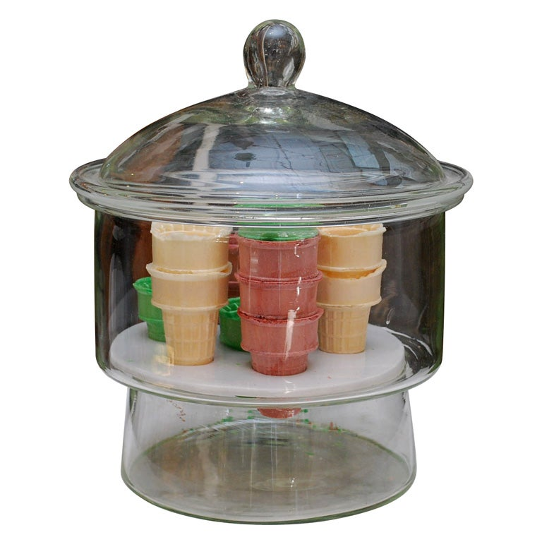 Vintage Glass Ice Cream Cone Dispenser At 1stdibs