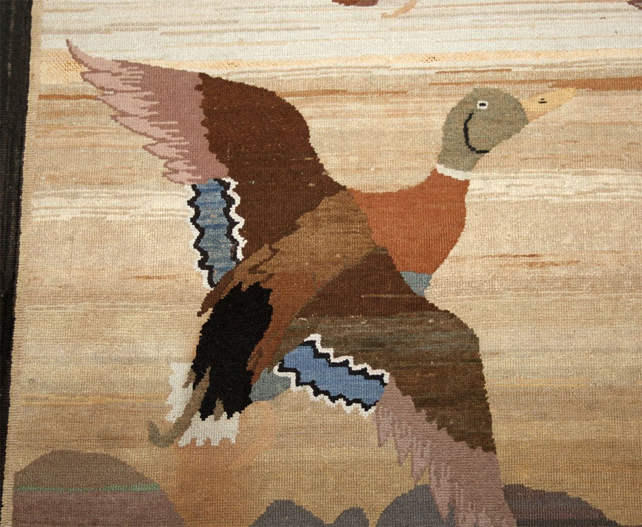 20th Century Grenfell Mat, Mallard Ducks in Flight For Sale