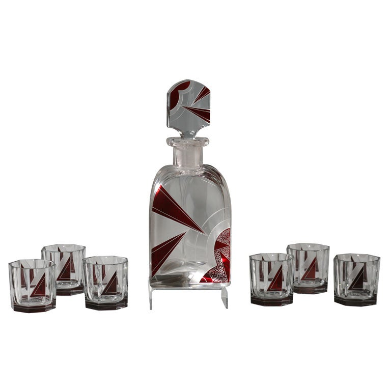 bohemian art deco 7 piece whiskey set with red overlay. Black Bedroom Furniture Sets. Home Design Ideas