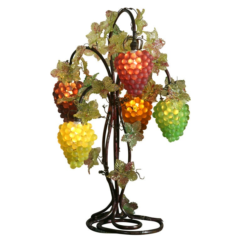 Czech Iron And Crystal Table Lamp With Grapes At 1stdibs