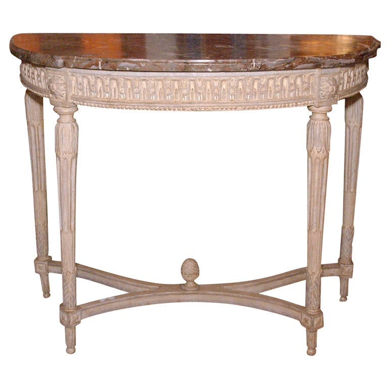 French Connection Gunmetal Coffee Table: 18th Century Demi-Lune Console With Ochre Marble Top At