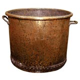Overscale Hand-Hammered Two Handled Copper Log Bin