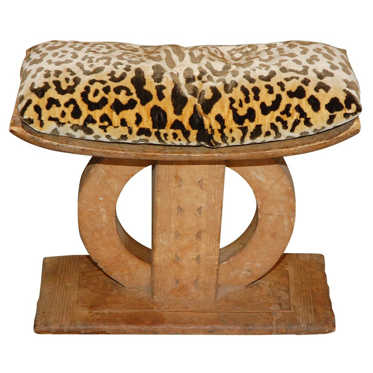 African bench with leopard velour pad at 1stdibs Leopard print bench