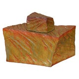 Large Square Faceted Rock Style Vase With Lid