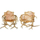 Antler armchairs with leather strappings