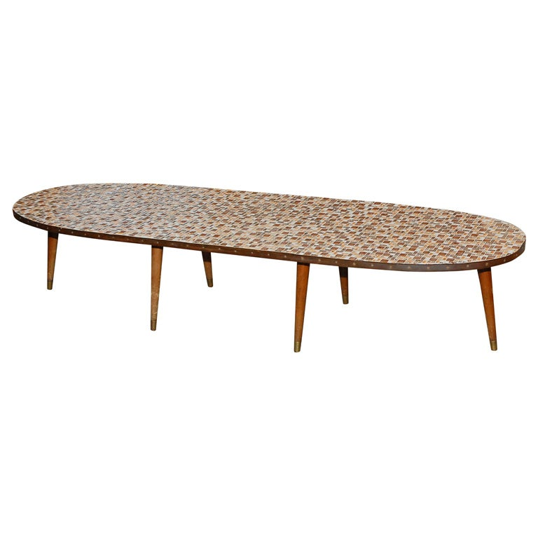 Oval Mosaic Tile Top Coffee Table At 1stdibs