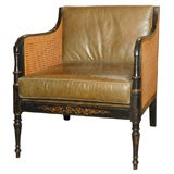 English black painted caneback and seat club chair