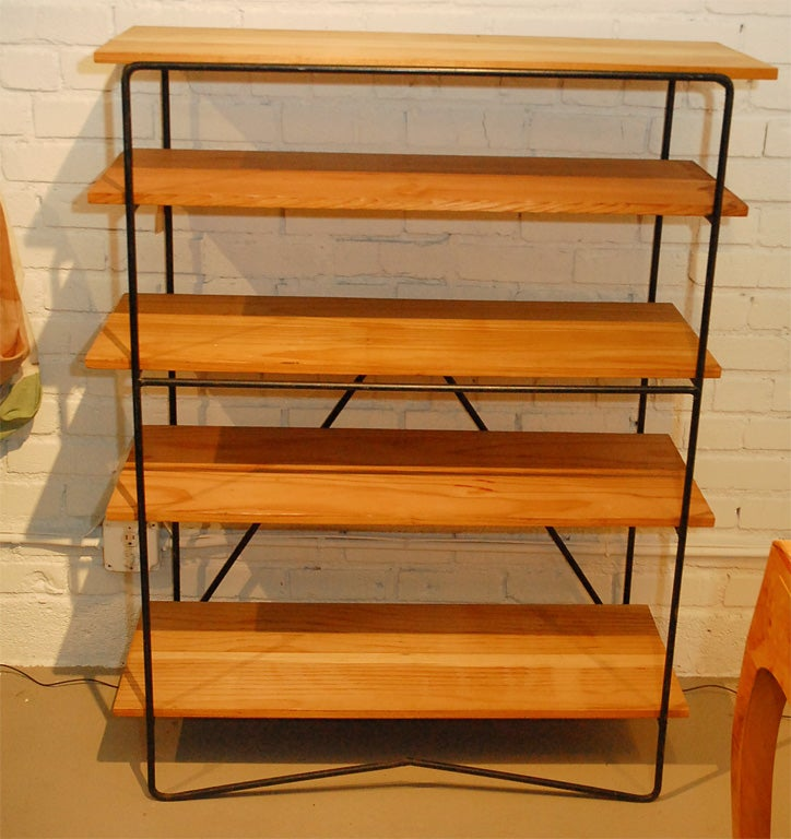 wrought iron and wood bookcase in the style of paul mccobb at 1stdibs. Black Bedroom Furniture Sets. Home Design Ideas
