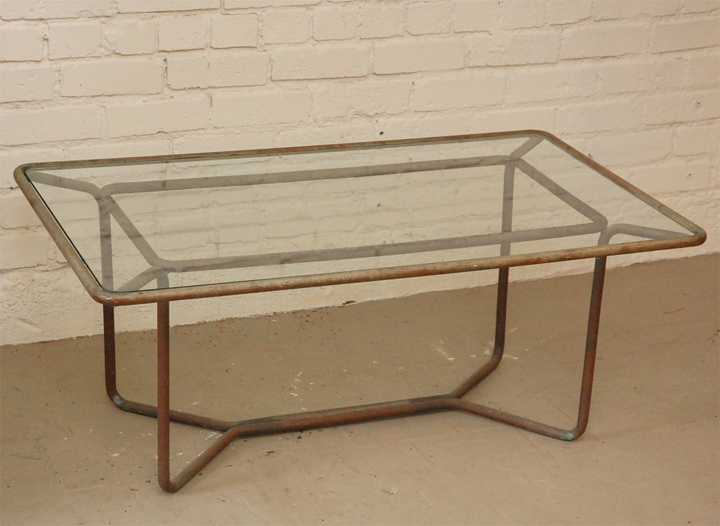Rare walter lamb bronze and glass coffee table at 1stdibs Bronze coffee tables
