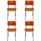 Jean Prouve-Inspired Dutch School Chairs Six Available