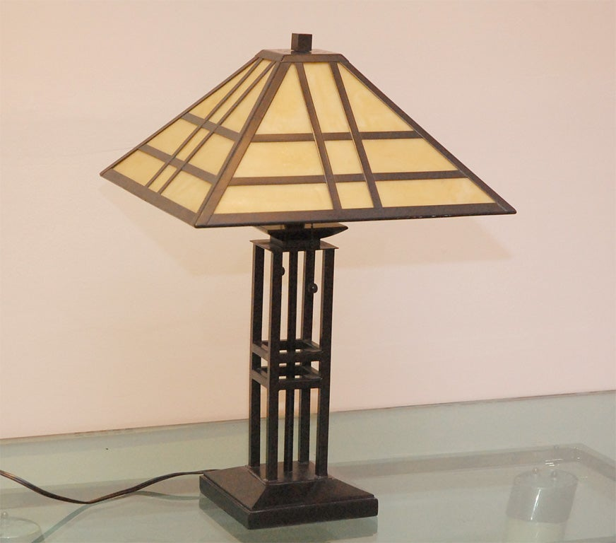 Single arts and crafts style table lamp at 1stdibs for Arts and crafts style table