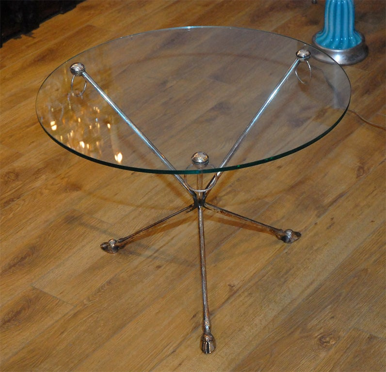 Silvered bbronze and glass top pair of occasional tables for Glass top occasional tables