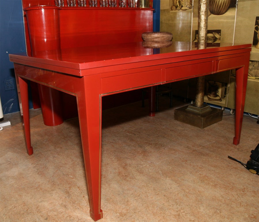 custom made red lacquer dining table ny 1950s for sale at