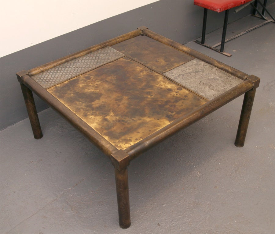 Rare low square cocktail table by philip and kelvin laverne at 1stdibs Low coffee table square