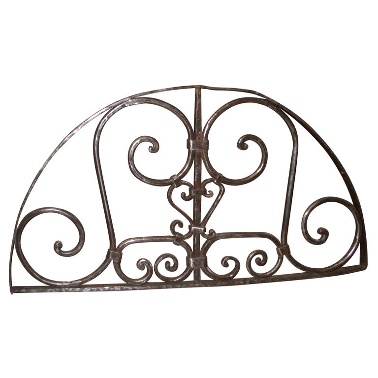 Hand Forged Iron Transom Grill For Sale