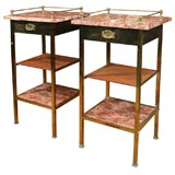 Pair of Turn-of-the Century  Arts & Crafts Brass Night Stands