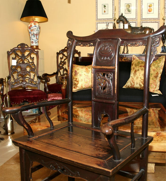 Pair of 19th Century Chinese Elm Armchairs For Sale 1