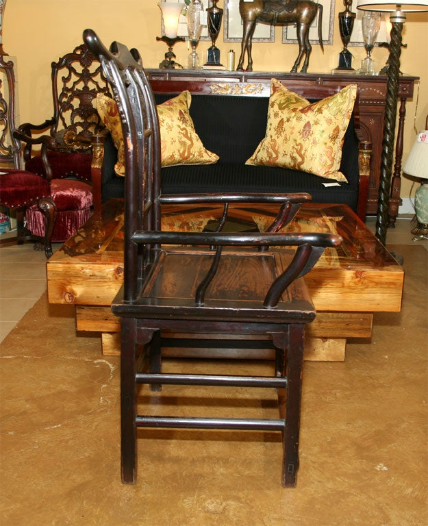 Pair of 19th Century Chinese Elm Armchairs For Sale 5