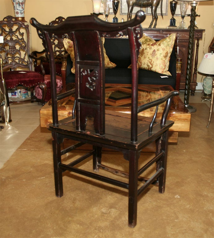 Pair of 19th Century Chinese Elm Armchairs For Sale 6