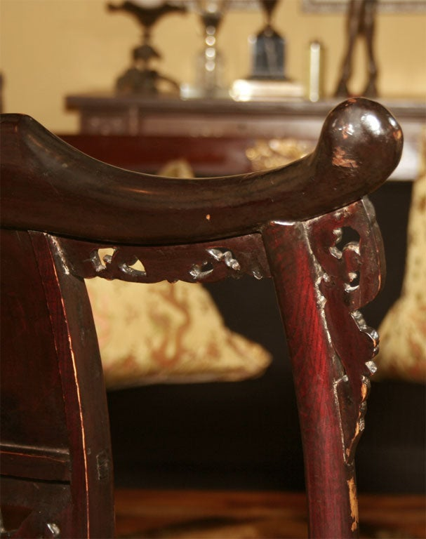 Pair of 19th Century Chinese Elm Armchairs For Sale 7