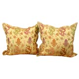 Pair of Christopher Hyland Yellow Silk Chinoisierie Pillows