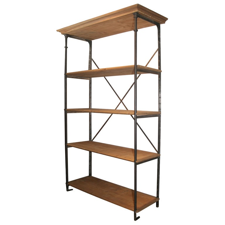 French Metal and Wood Bookcase at 1stdibs